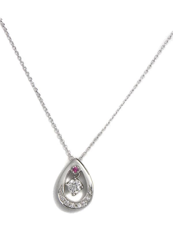 セレクトジュエリー『PT900/PT850ネックレス ダイヤモンド0.205ct ルビー ドロップモチーフ』1週間保証【中古】