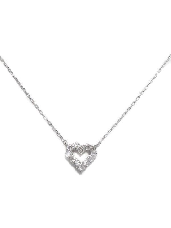 セレクトジュエリー『K18WGネックレス ダイヤモンド0.20ct ハートモチーフ』1週間保証【中古】