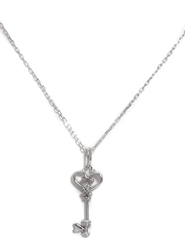 セレクトジュエリー『K10WGネックレス ダイヤモンド0.01ct キーモチーフ』1週間保証【中古】