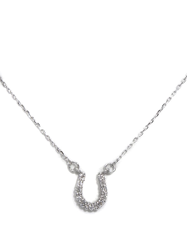 【馬蹄】セレクトジュエリー『K18WGネックレス ダイヤモンド0.08ct ホースシューモチーフ』1週間保証【中古】