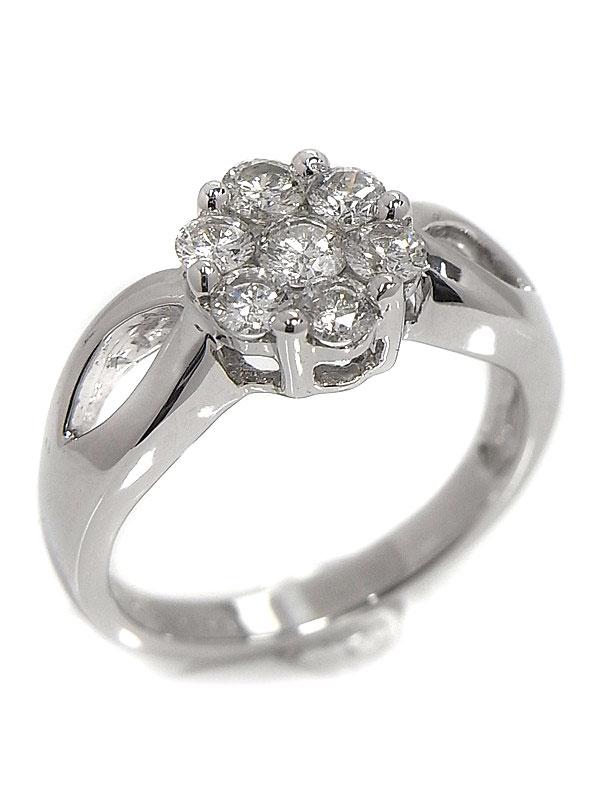 【仕上済】セレクトジュエリー『K18WGリング ダイヤモンド0.70ct フラワーモチーフ』12号 1週間保証【中古】
