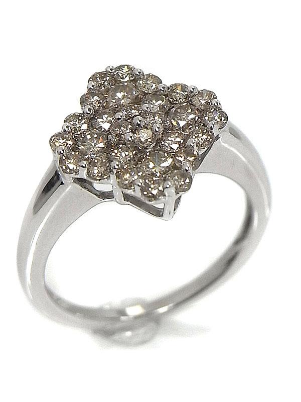 【仕上済】セレクトジュエリー『K18WGリング ダイヤモンド フラワーモチーフ』10号 1週間保証【中古】