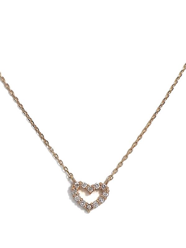 【Canal 4℃】4℃『K10PGネックレス ダイヤモンド ハートモチーフ』1週間保証【中古】