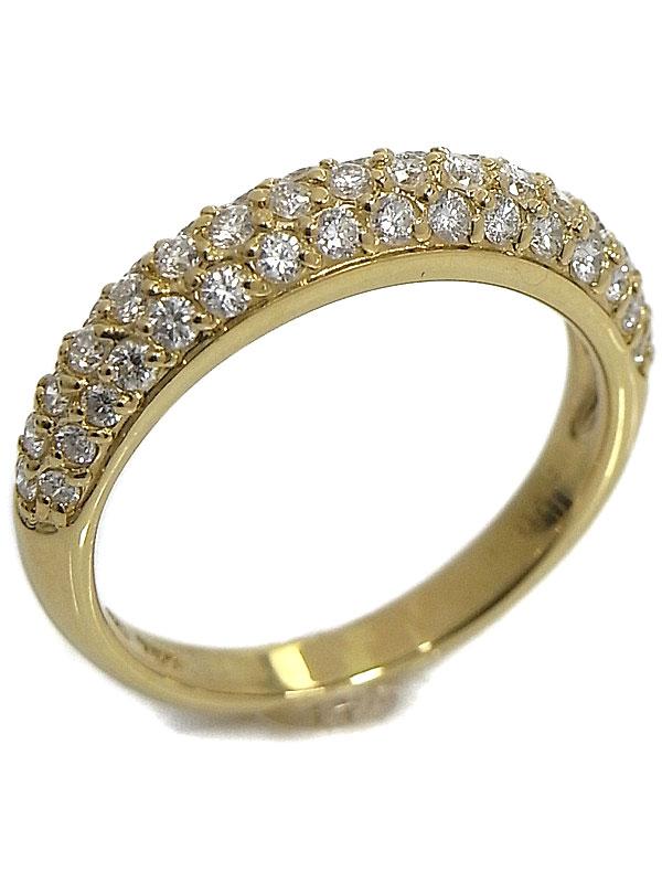 【仕上済】【パヴェダイヤ】セレクトジュエリー『K18YGリング ダイヤモンド0.64ct』9.5号 1週間保証【中古】