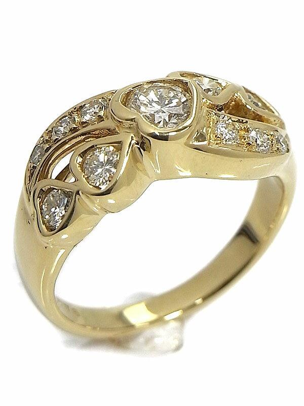 【仕上済】セレクトジュエリー『K18YGリング ダイヤモンド0.76ct ハートモチーフ』10号 1週間保証【中古】