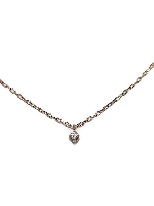 セレクトジュエリー『K10PGネックレス 1Pダイヤモンド0.03ct』1週間保証【中古】