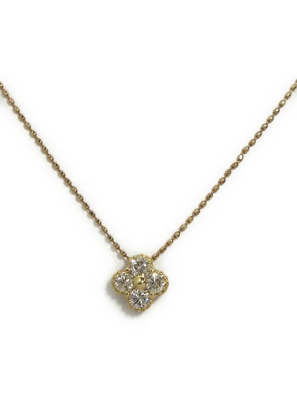 セレクトジュエリー『K18YGネックレス  ダイヤモンド0.36ct フラワーモチーフ』1週間保証【中古】