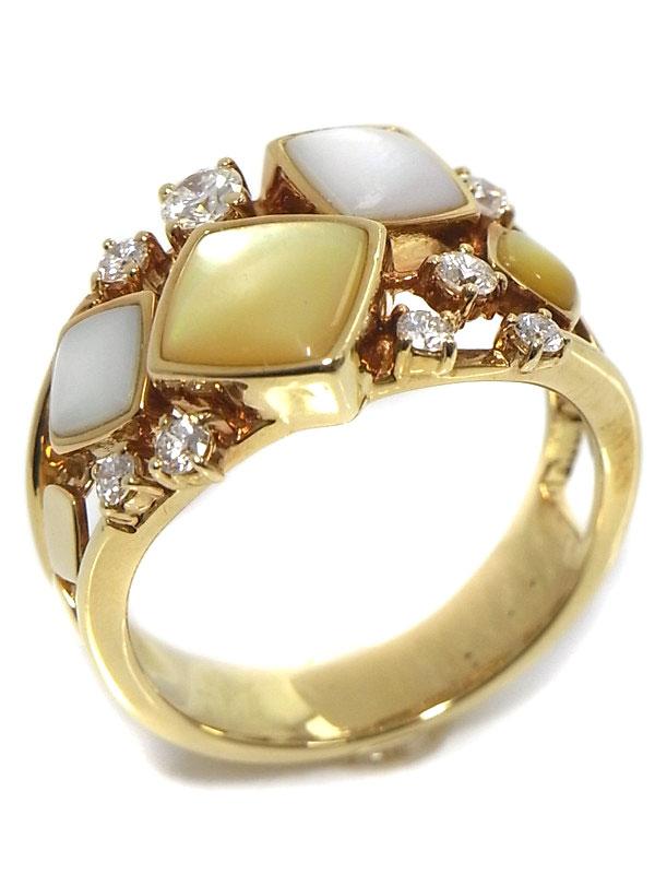 【TASAKI】タサキ『K18YGリング シェル ダイヤモンド0.34ct』14.5号 1週間保証【中古】
