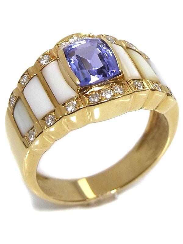 【TASAKI】タサキ『K18YGリング タンザナイト1.46ct ダイヤモンド シェル』14号 1週間保証【中古】