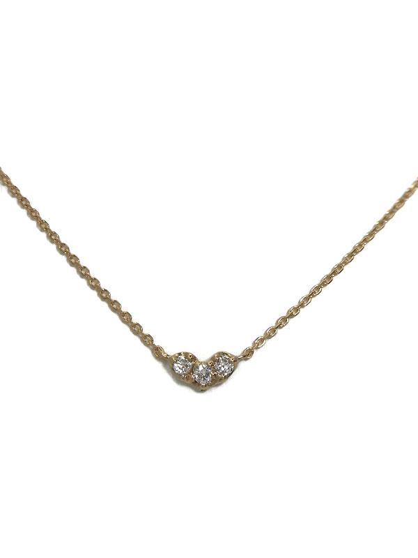 セレクトジュエリー『K18PGネックレス ダイヤモンド0.06ct ハートモチーフ』1週間保証【中古】