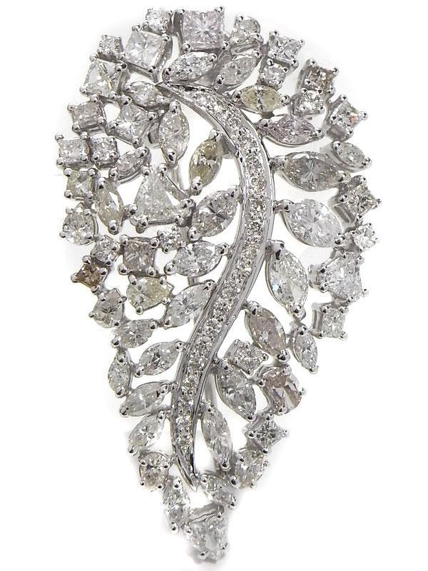 【2Way】セレクトジュエリー『K18WGペンダント/ブローチ ダイヤモンド5.32ct リーフモチーフ』1週間保証【中古】