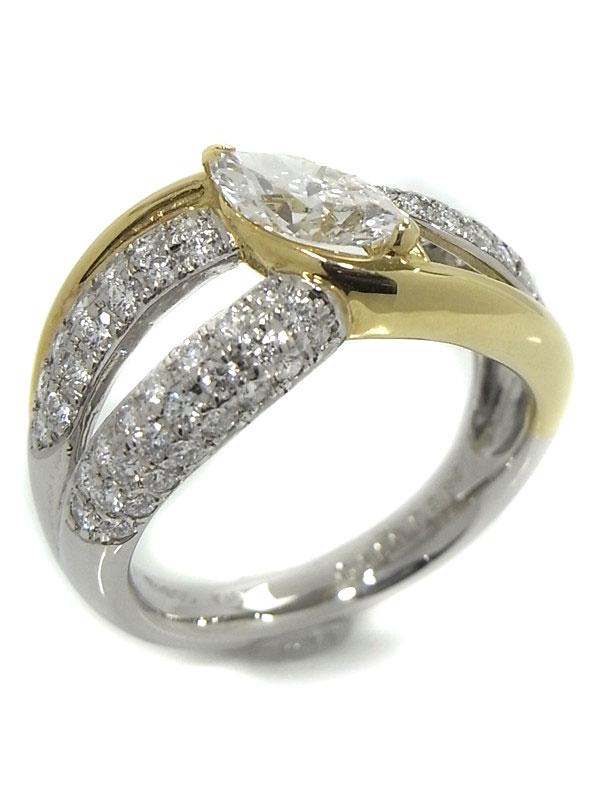 【ソーティング】【仕上済】セレクトジュエリー『PT900/K18YGリング ダイヤモンド0.689ct/D/SI-1 0.64ct』11号 1週間保証【中古】