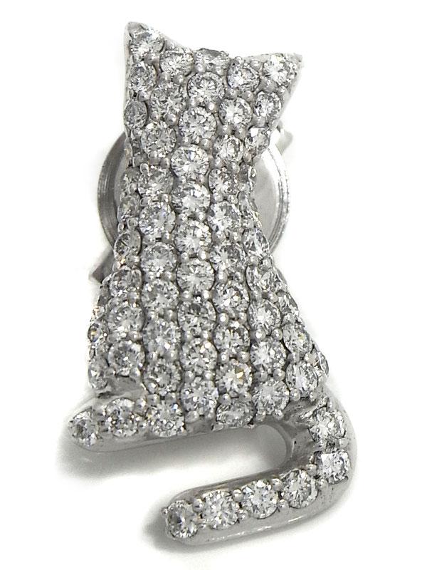 【パヴェダイヤ】【猫】セレクトジュエリー『K18WG ピンブローチ ダイヤモンド1.15ct キャットモチーフ』1週間保証【中古】