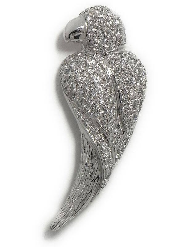 【パヴェダイヤ】【鳥】セレクトジュエリー『K18WG ピンブローチ ダイヤモンド1.27ct オウムモチーフ』1週間保証【中古】
