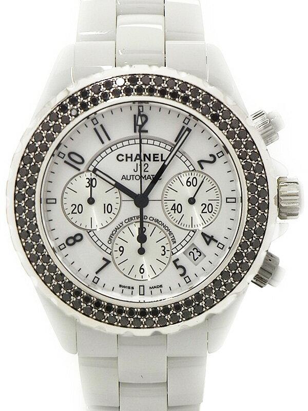 【CHANEL】シャネル『J12 ホワイトセラミック ブラックダイヤモンドベゼル』H1664 メンズ 自動巻き 6ヶ月保証【中古】
