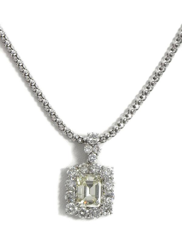 【鑑定書】セレクトジュエリー『PT900/PT850ネックレス ダイヤモンド3.033ct/UNDER N(LIGHT YELLOW)/SI-2 2.60ct』1週間保証【中古】