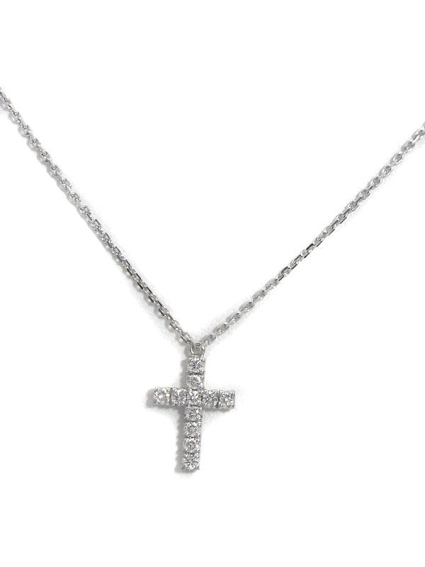 【Cartier】カルティエ『K18WGネックレス ダイヤモンド クロスモチーフ』1週間保証【中古】