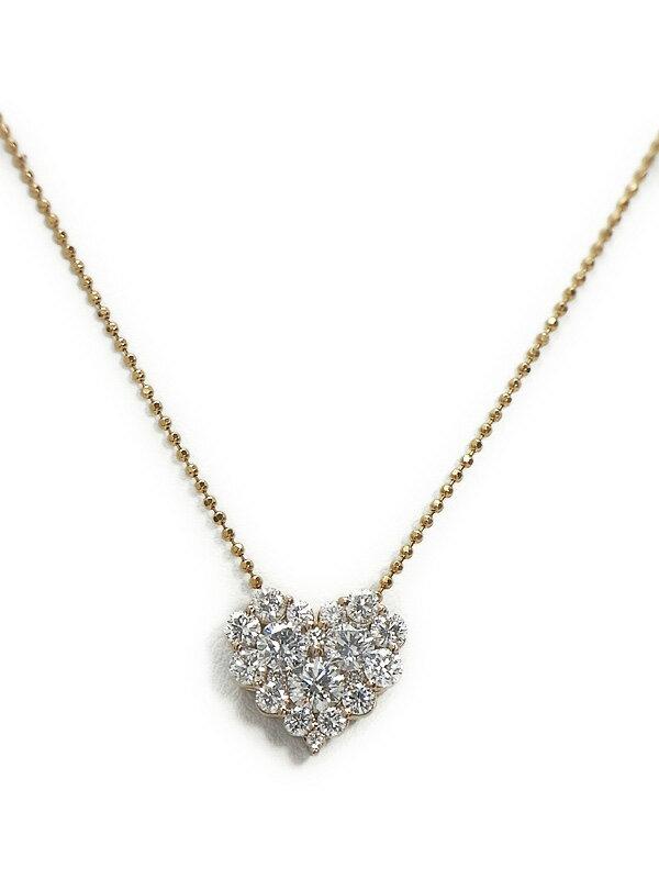 【パヴェダイヤ】セレクトジュエリー『K18PGネックレス ダイヤモンド1.20ct ハートモチーフ』1週間保証【中古】