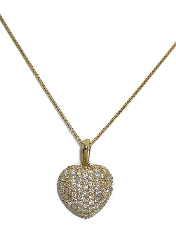 【仕上済】セレクトジュエリー『K18YGネックレス  ダイヤモンド1.00ct パヴェハートモチーフ』1週間保証【中古】