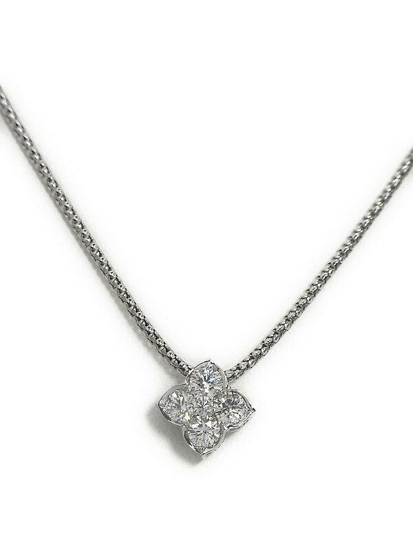 【仕上済】セレクトジュエリー『K18WGネックレス ダイヤモンド0.53ct フラワーモチーフ』1週間保証【中古】