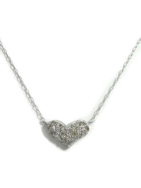 セレクトジュエリー『K18WGネックレス ダイヤモンド0.30ct パヴェハートモチーフ』1週間保証【中古】