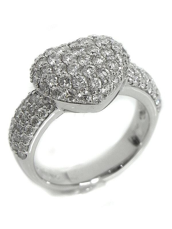 【Ponte Vecchio】【仕上済】ポンテヴェキオ『K18WGリング ダイヤモンド1.50ct パヴェハートモチーフ』10号 1週間保証【中古】