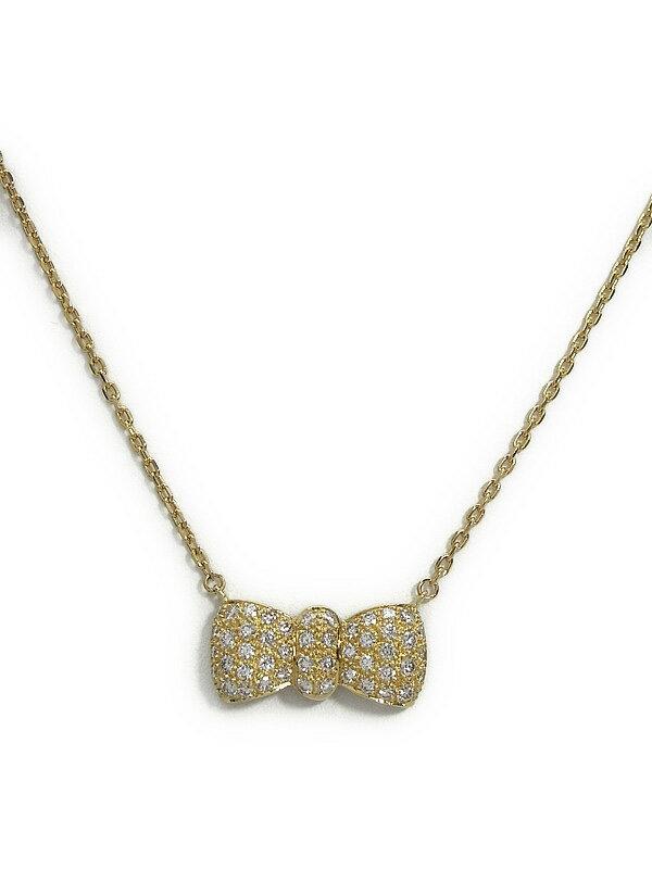 セレクトジュエリー『K18YGネックレス ダイヤモンド1.10ct リボンモチーフ』1週間保証【中古】