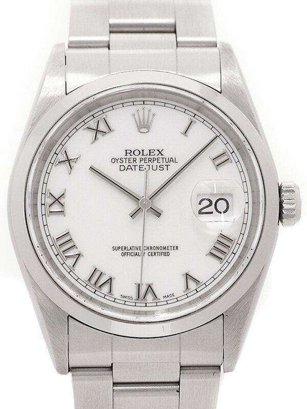 【ROLEX】【ホワイトローマン】ロレックス『デイトジャスト』16200 U番'97年頃製 メンズ 自動巻き 12ヶ月保証【中古】
