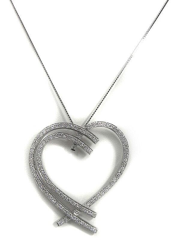 セレクトジュエリー『K18WGネックレス ダイヤモンド1.72ct ハートモチーフ』1週間保証【中古】