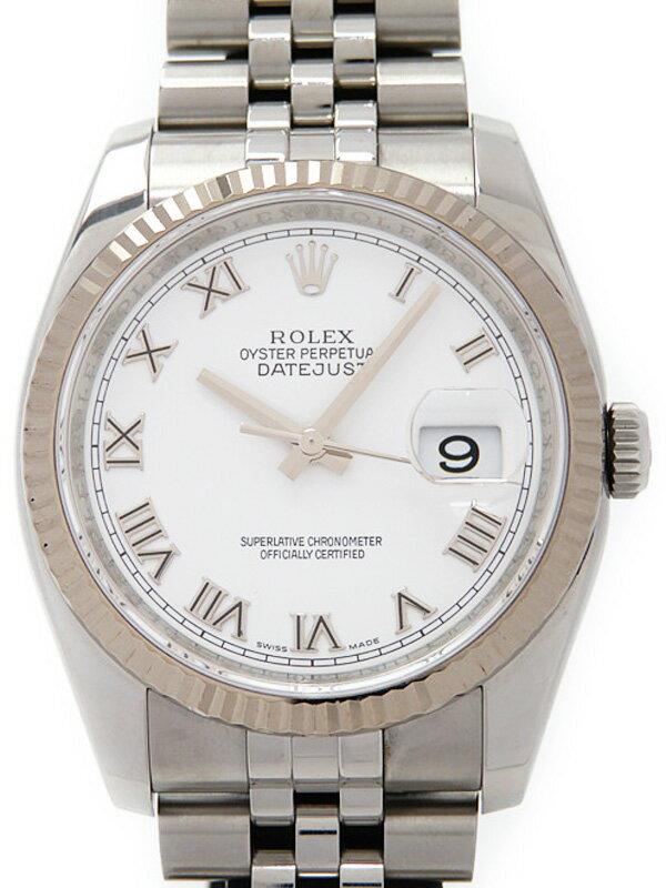 【ROLEX】【ホワイトローマン】【'10年購入】ロレックス『デイトジャスト』116234 ランダム番 メンズ 自動巻き 12ヶ月保証【中古】
