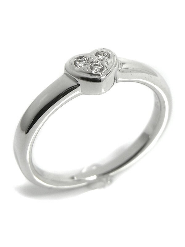 【TASAKI】【現状品】タサキ『K18WGリング ダイヤモンド0.03ct ハートモチーフ』9号 1週間保証【中古】