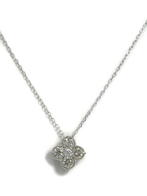 【仕上済】セレクトジュエリー『PT900/PT850ネックレス ダイヤモンド0.63ct フラワーモチーフ』1週間保証【中古】