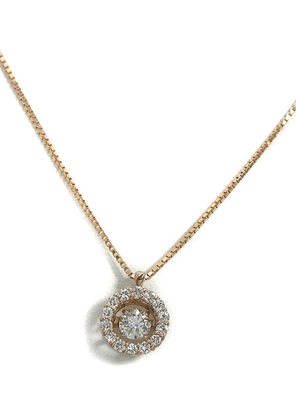 【仕上済】セレクトジュエリー『K18PGネックレス ダイヤモンド0.237ct 0.20ct』1週間保証【中古】
