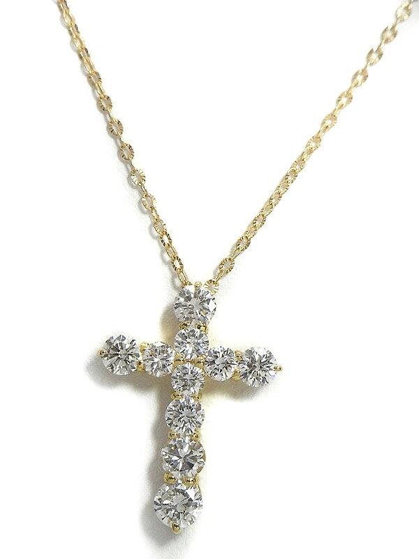 セレクトジュエリー『K18YGネックレス ダイヤモンド2.025ct クロスモチーフ』1週間保証【中古】