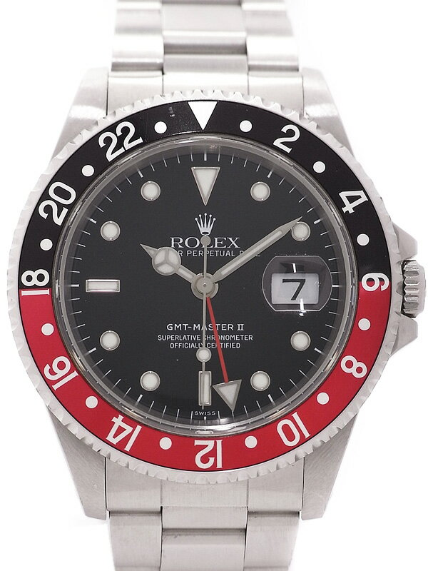 【ROLEX】【'06年日ロレOH済】ロレックス『GMTマスター2 赤×黒ベゼル』16710 A番'99年頃製 メンズ 自動巻き 12ヶ月保証【中古】