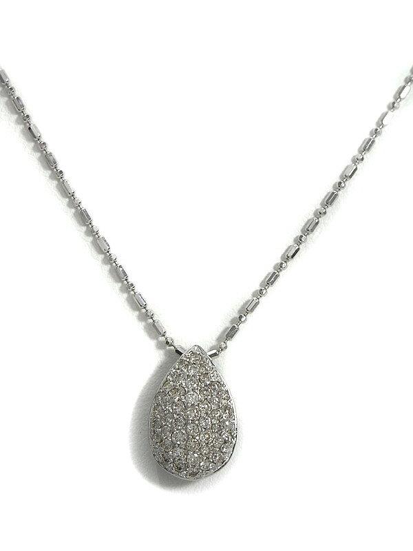 セレクトジュエリー『K18WGネックレス ダイヤモンド0.70ct パヴェドロップモチーフ』1週間保証【中古】