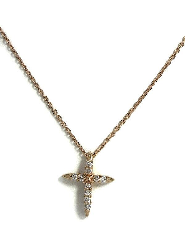 セレクトジュエリー『K10PGネックレス ダイヤモンド0.17ct クロスモチーフ』1週間保証【中古】