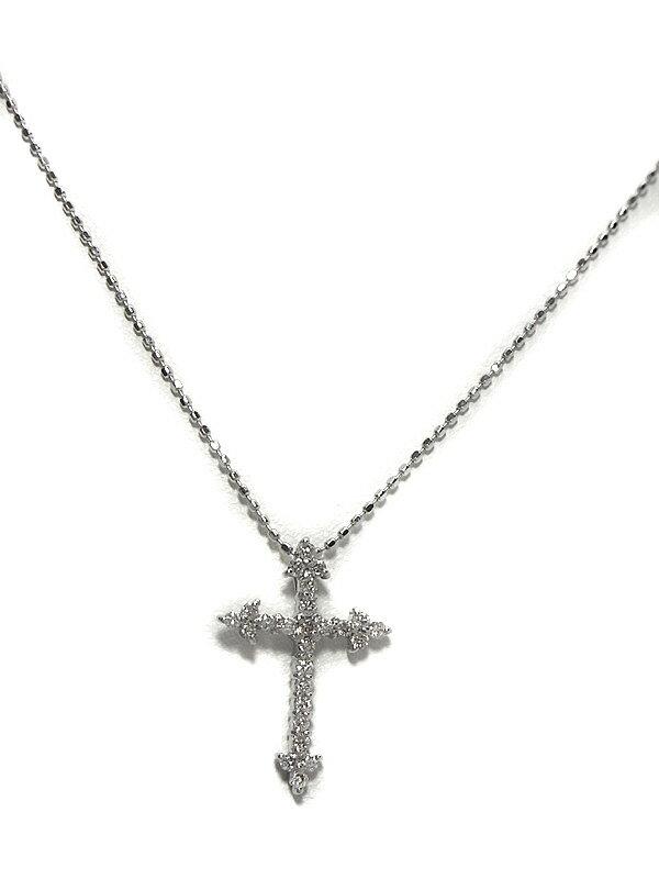 セレクトジュエリー『K18WGネックレス ダイヤモンド0.25ct クロスモチーフ』1週間保証【中古】