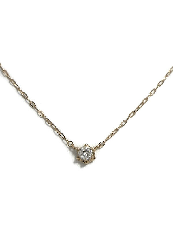 4℃『K18PGネックレス 1Pダイヤモンド』1週間保証【中古】