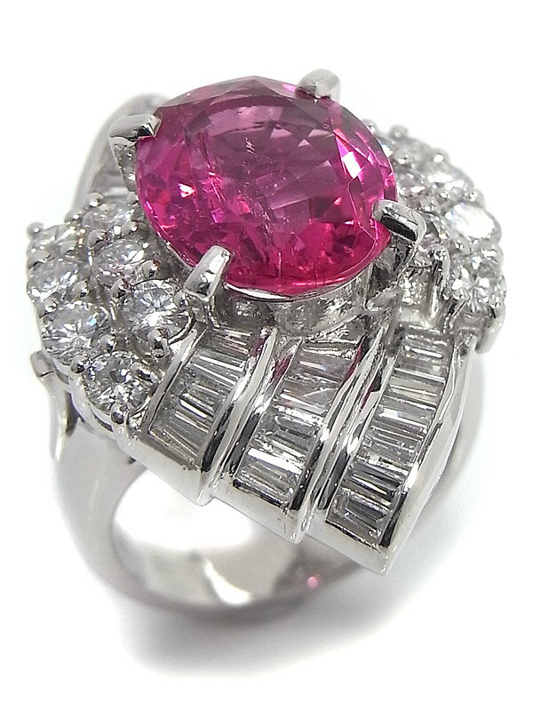 【仕上済】セレクトジュエリー『PT900リング トルマリン4.62ct ダイヤモンド2.24ct』11号 1週間保証【中古】