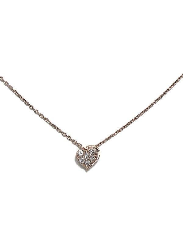 【Star Jewelry】スタージュエリー『K10PGネックレス ダイヤモンド0.06ct ハートモチーフ』1週間保証【中古】