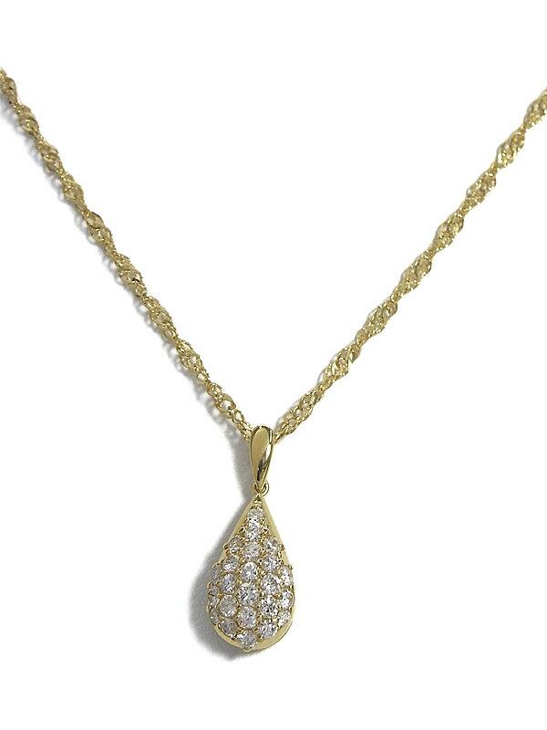 セレクトジュエリー『K18YGネックレス ダイヤモンド0.64ct  ドロップモチーフ』1週間保証【中古】