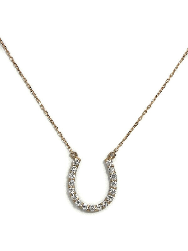 【馬蹄】セレクトジュエリー『K18PGネックレス ダイヤモンド0.20ct ホースシューモチーフ』1週間保証【中古】