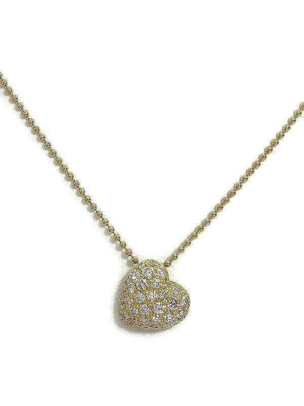 セレクトジュエリー『K18YGネックレス ダイヤモンド0.80ct パヴェハートモチーフ』1週間保証【中古】