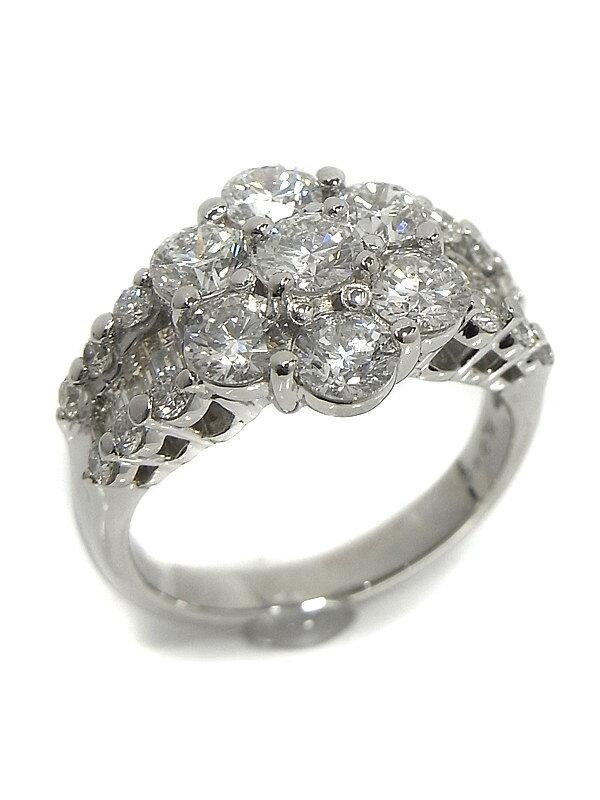 【仕上済】セレクトジュエリー『PT900リング ダイヤモンド3.013ct フラワーモチーフ』12.5号 1週間保証【中古】