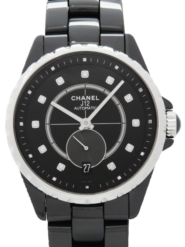 【CHANEL】シャネル『J12 ブラックセラミック 11Pダイヤ』H4344 メンズ 自動巻き 6ヶ月保証【中古】