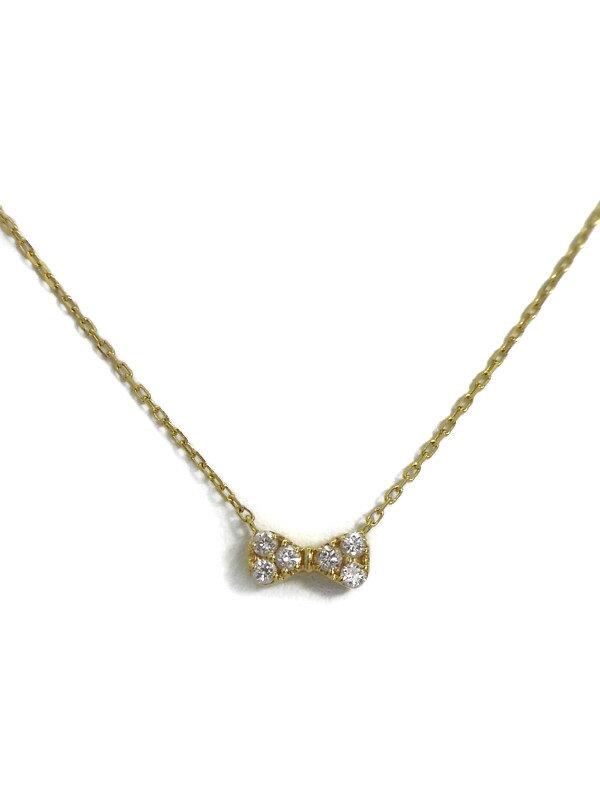【Ponte Vecchio】ポンテヴェキオ『K18YGネックレス ダイヤモンド0.09ct リボンモチーフ』1週間保証【中古】