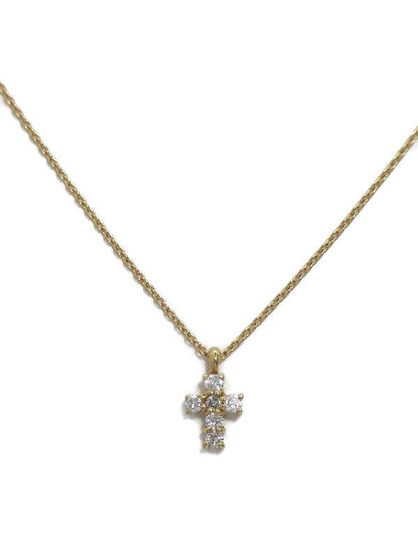 セレクトジュエリー『K18YGネックレス ダイヤモンド0.16ct クロスモチーフ』1週間保証【中古】