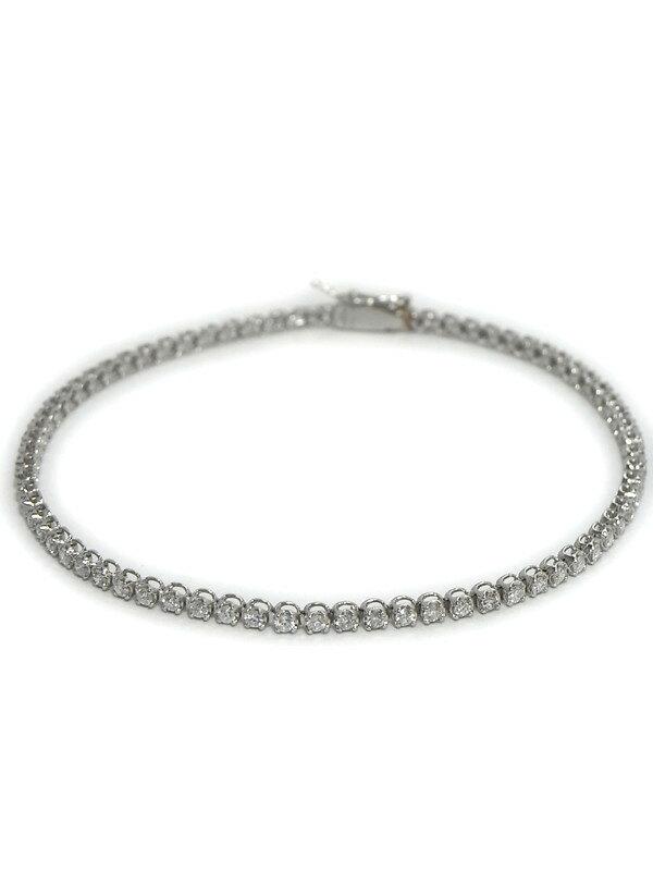 セレクトジュエリー『PT850ブレスレット ダイヤモンド1.00ct テニスブレス』1週間保証【中古】