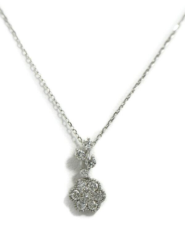 セレクトジュエリー『K18WGネックレス ダイヤモンド0.28ct フラワーモチーフ』1週間保証【中古】